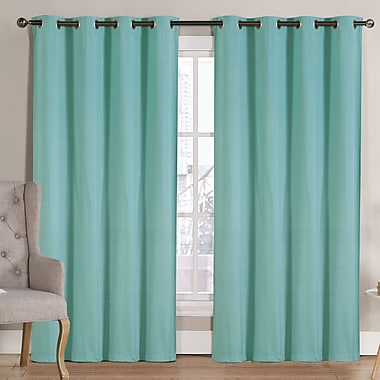 Ruthy's Outlet Solid Blackout Thermal Grommet Curtain Panels (Set of 2); Aqua