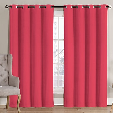 Ruthy's Outlet Solid Blackout Thermal Grommet Curtain Panels (Set of 2); Coral