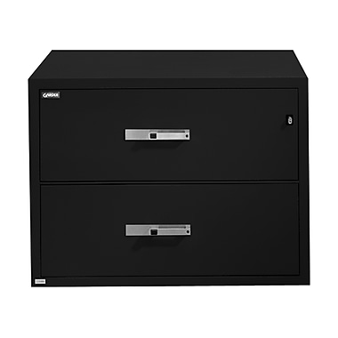 Gardex Classic Fire-Resistant File, 2-Drawer, Lateral, Black, 29H x 38 3/4W x 23 1/2D (GXGL-402-BK)