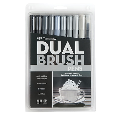Tombow Dual Brush Marker Grayscale Colours, 10-Piece Set (56171)