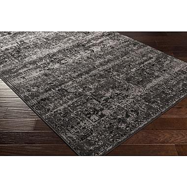Gracie Oaks Kulpmont Oriental Black/Light Gray Area Rug; Runner 2'2'' x 7'6''