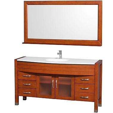 Wyndham Collection Daytona 60'' Single Cherry Bathroom Vanity Set w/ Mirror; White Man-Made Stone