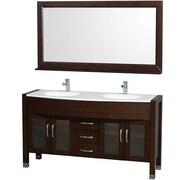 Wyndham Collection Daytona 60'' Double Espresso Bathroom Vanity Set w/ Mirror; White Man-Made Stone
