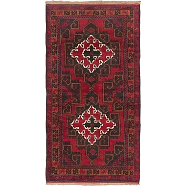 ECARPETGALLERY Kazak Hand-Knotted Dark Burgundy Area Rug