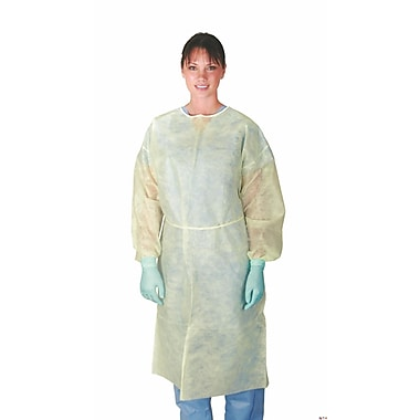 Medline Classic Cover Lightweight Polypropylene Isolation Gowns - Yellow - 3XL - 50ct (CRI4003)