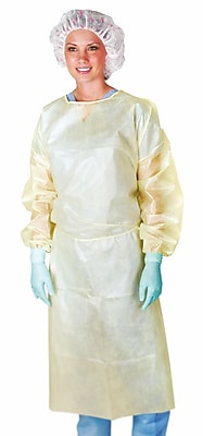 Medline Medium Weight Coated Polypropylene Isolation Gowns - Yellow - XL - 10 Gowns/Bag (CRI4011)
