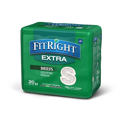 "Medline FitRight Extra Briefs - Small - 20""33"" - 20/Bag (FITEXTRASM)"