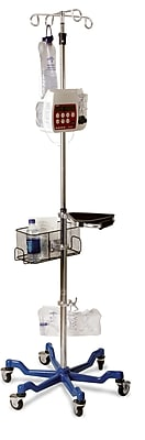 Medline Stainless Steel Six Leg Heavy Duty IV Pole - Blue Base (MDS80600)