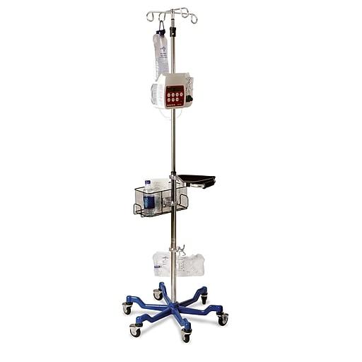 Medline Stainless Steel Six Leg Heavy Duty IV Pole - Blue Base (MDS80600)