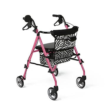Medline Posh Pink Zebra Rollator (MDS86835SHE)