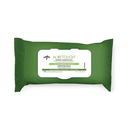 Medline Aloetouch Personal Cleansing Wipes - Scented - 100/PK (MSC263854)
