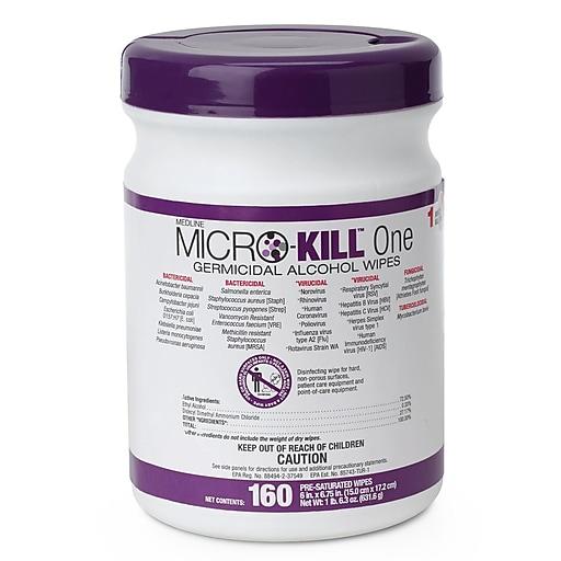 Medline Micro-Kill One Germicidal Alcohol Wipes - 160CT (MSC351300)