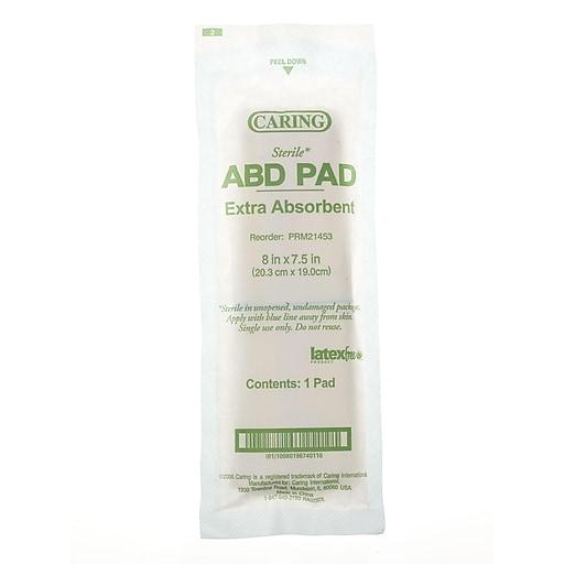 "Medline Caring Sterile Abdominal Pads - 8""x7.5"" - 20/Box (PRM21453)"
