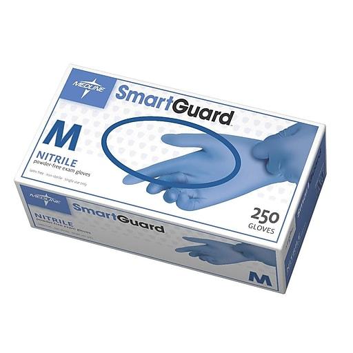 Medline Powder-Free Nitrile Exam Gloves - SmartGuard - Medium - 250/Box (SG312)