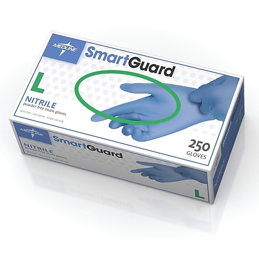 Medline Powder-Free Nitrile Exam Gloves - SmartGuard - Large - 250/Box (SG313)