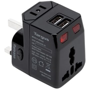 Targus® Black World Travel Power Adapter with Dual USB Charging Ports (APK032US)