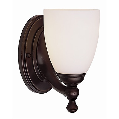 TransGlobe Lighting 1-Light Wall Sconce w/ Opal Shade; Oil Rubbed Bronze