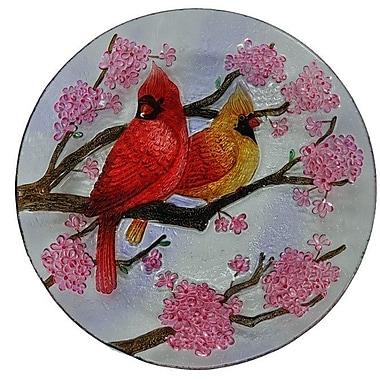 Continental Art Center Two Cardinals Glass Plate