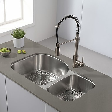 Kraus 32.38'' x 20.5'' Double Basin Undermount Kitchen Sink w/ NoiseDefend Soundproofing