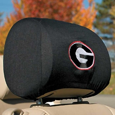 NeoPlex NCAA Car Head Rest Covers (Set of 2); Georgia Bulldogs