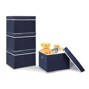 Furinno Non-Woven Fabric Heavy-Duty Storage Organizer (Set of 4); Dark Blue