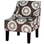 Varick Gallery Printed Swoop Arm Chair; Medallion Leaf Green