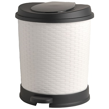 Superior Performance Plastic 5.5 Gallon Step On Trash Can; White