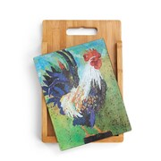 DEMDACO 2 Piece Bamboo/Glass Rooster Cutting Board Set
