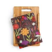 DEMDACO 2 Piece Bamboo/Glass Floral Garden Cutting Board Set