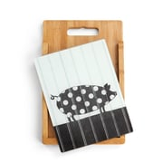 DEMDACO 2 Piece Bamboo/Glass Pig Cutting Board Set