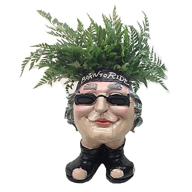 HomeStyles Muggly Biker ''Babe'' Motorcycle Attire Resin Statue Planter