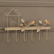Ikee Design Metal Wall Mounted Six Hook Lifelike Birds Coat Rack and Clothes Hanging