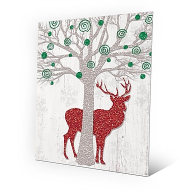 Click Wall Art 'Glamour Green Tree & Red Reindeer ' Graphic Art on Plaque; 24'' H x 20'' W x 1'' D