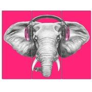 DesignArt 'Elephant w/ Headphones' 3 Piece Graphic Art on Canvas Set
