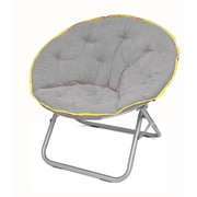 Urban Shop Plush Papasan Chair; Gray with Yellow Trim