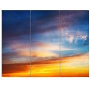 DesignArt 'Sunset Dramatic Yellow Sky Clouds' 3 Piece Photographic Print on Canvas Set