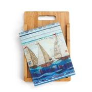 DEMDACO 2 Piece Bamboo/Glass Sail Boats Cutting Board Set