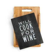 DEMDACO 2 Piece Bamboo/Glass Cook for Wine Cutting Board Set