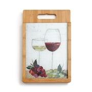 DEMDACO 2 Piece Bamboo/Glass Wine Glasses Cutting Board Set