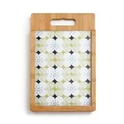 DEMDACO 2 Piece Bamboo/Glass Floral Patterned Cutting Board Set