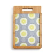 DEMDACO 2 Piece Bamboo/Glass Sliced Lemons Cutting Board Set