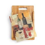 DEMDACO 2 Piece Bamboo/Glass Wine and Cheese Cutting Board Set