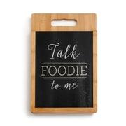 DEMDACO 2 Piece Bamboo/Glass Talk Foodie Cutting Board Set