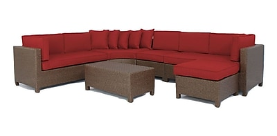 Brayden Studio Luciano 6 Piece Sectional Set w/ Cushions; Ribbed Brick