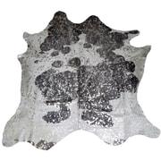 Trophy Room Stuff Designer Cowhides Silver Acid Wash on Black/White Area Rug