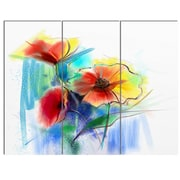 DesignArt 'Watercolor Multi-Color Flower Illustration' 3 Piece Painting Print on Canvas Set