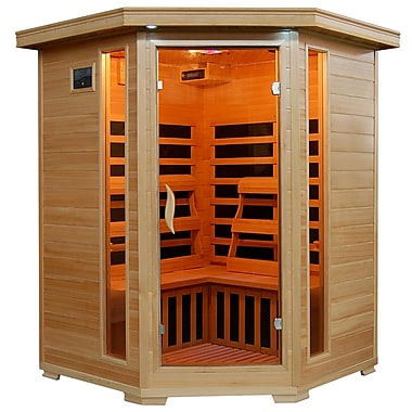 Radiant® 3-Person Hemlock Corner Infrared Sauna With 7 Carbon Heaters