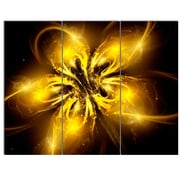 DesignArt 'Shiny Gold Fractal Flower on Black' 3 Piece Graphic Art on Canvas Set