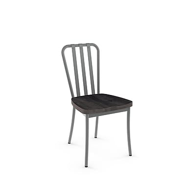 Gracie Oaks Eila Solid Wood Dining Chair (Set of 2); Glossy Grey Metal/Medium Dark Gray Wood
