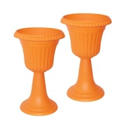 Aleko Plastic Urn Planter (Set of 2); Orange